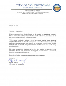 Reference letter from Mayor John McNally