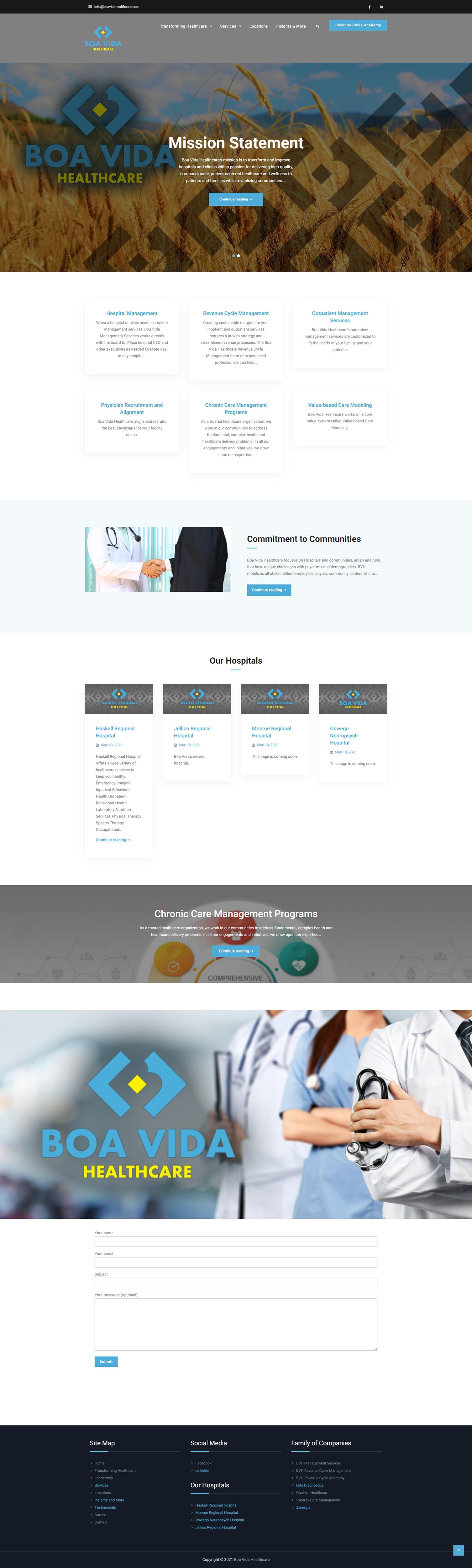 Boa Vida Healthcare Website