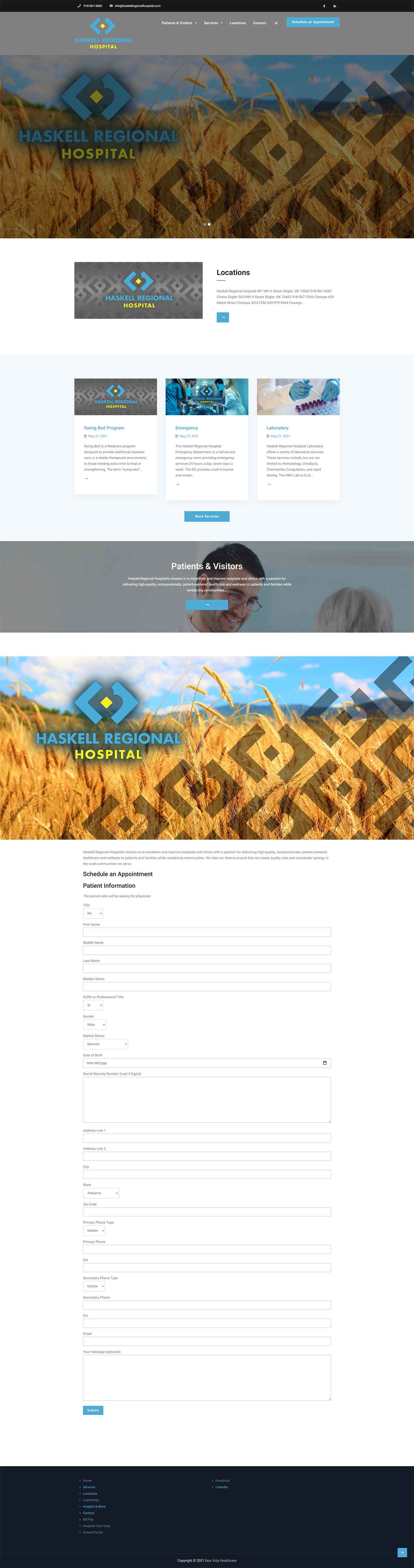Haskell Regional Hospital Website layout 2021